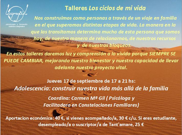 3º encuentro Talleres Los ciclos de mi vida (17 de septiembre)