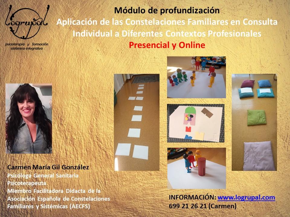 Aplicación de las constelaciones familiares en consulta individual a diferentes contextos profesionales (módulo de profundización). Almería, 13 al 15 de noviembre. Presencial y online